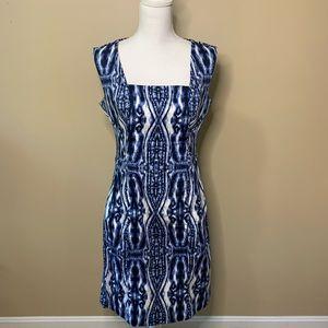 Anne Klein Blue & White Pattern Square Neck Dress
